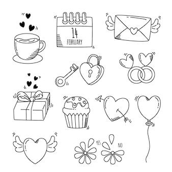 Коллекция элементов дня святого валентина каракули