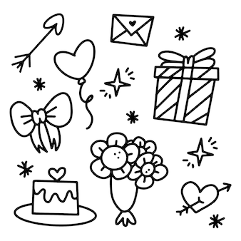 Набор элементов дня святого валентина каракули