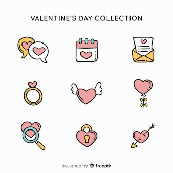 Doodle valentine's day elements