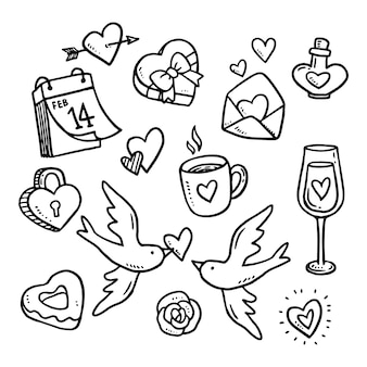 Doodle elementi di san valentino