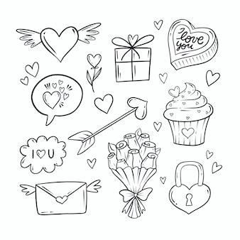 낙서 발렌타인 요소 컬렉션