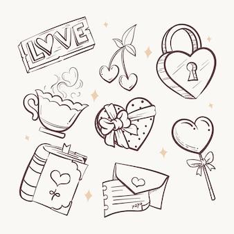 Коллекция элементов день святого валентина каракули
