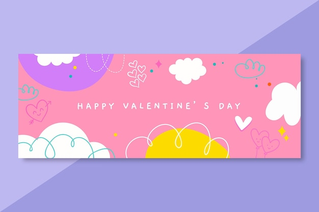 Doodle valentines day facebook cover template