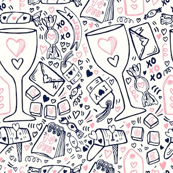 Doodle valentines day pattern