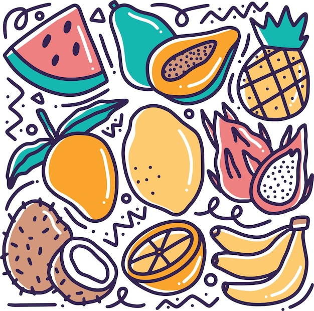 Doodle various fruit collection hand drawing with icons and design elements