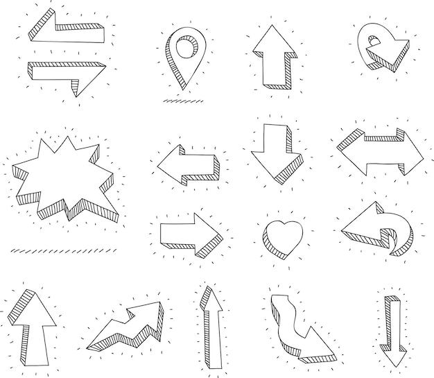 낙서 벡터 화살표와 디자인 요소 손으로 그린 아이콘 프레임 테두리 화살표 세트