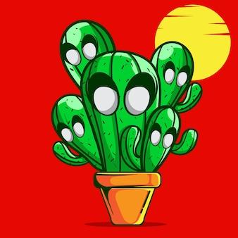 Doodle vector cactus zombie