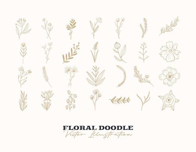 落書きベクトル花セット手描き装飾要素デザイン