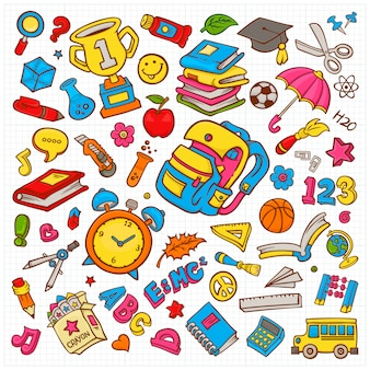 Doodle vector illustration collection on school