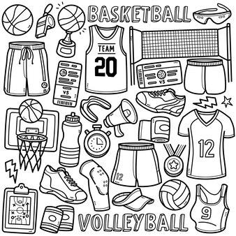 낙서 벡터 세트 농구 및 배구 유니폼 신발 볼 네트 등 장비