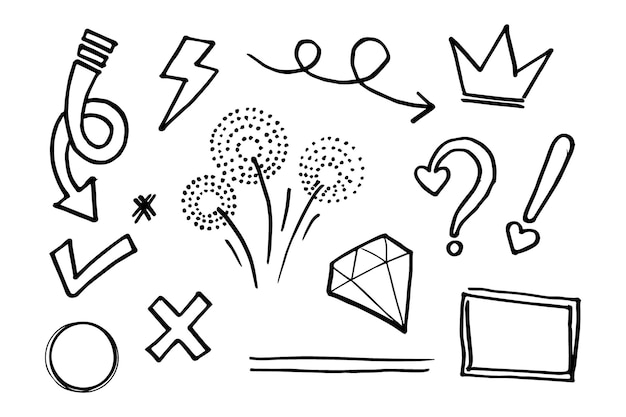 Doodle vector set illustration with hand draw line art style vector. crown, king, sun, arrow, heart, love, star, swirl, swoops, emphasis, for concept design
