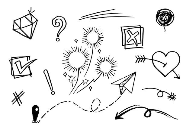Иллюстрация вектора болвана установила с вектором стиля искусства линии ничьей руки. корона, король, солнце, стрела, сердце, любовь, звезда, водоворот, свупы, акцент, для концептуального дизайна