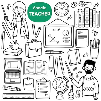 Doodle vector set  teacher related objects such as whiteboard books globe bag etc