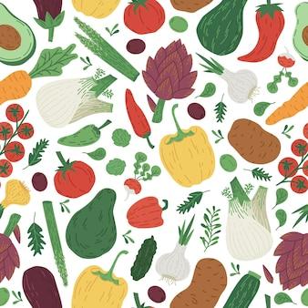 Каракули овощи авокадо морковь помидоры вектор бесшовный фон
