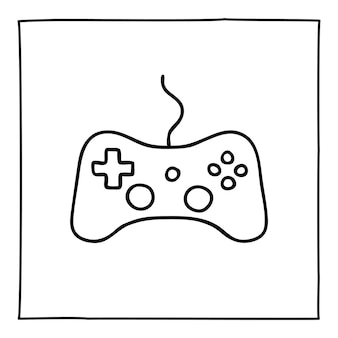 Doodle video game controller icon or logo, hand drawn with thin black line. isolated on white background. vector illustration