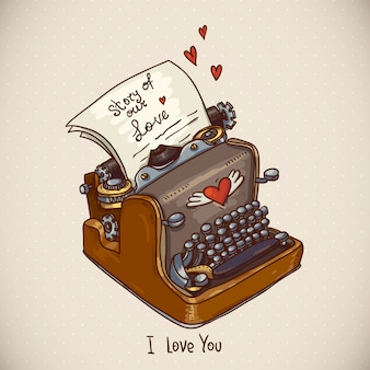 Doodle vintage greeting card with retro typewriter