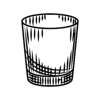 白い背景で隔離の落書きウォッカショット。アルコールの空のショットグラス。バーメニューのデザイン。透明なドリンクグラス。ヴィンテージの刻印スタイル。ベクトルイラスト
