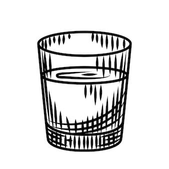 白い背景で隔離の落書きウォッカショット。アルコールのフルショットグラス。バーメニューのデザイン。透明なドリンクグラス。ヴィンテージの刻印スタイル。ベクトルイラスト