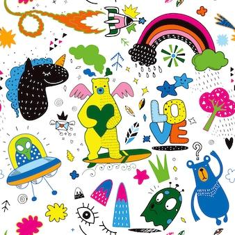 ベクトルラインアートオブジェクトとシンボルのdoodle漫画セットvol.4