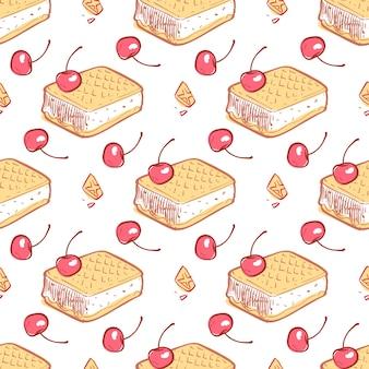 Doodle waffels мороженое вишня бесшовные модели