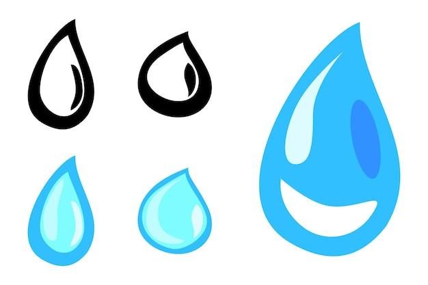 落書き水滴または露、シンプルなベクトル手描きスケッチ、白で隔離