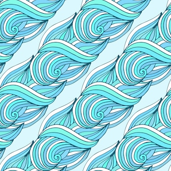 Doodle wavy repeating pattern. blue waves vector tropical background. for textile or packaging design.