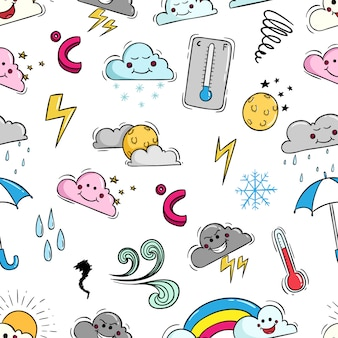 Doodle weather elements in seamless pattern