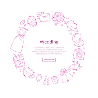 Doodle wedding with place for text illustration