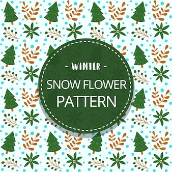 Doodle winter seamless pattern template with pine tree