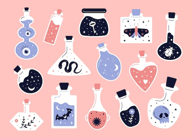 Doodle witchcraft love potions and magician occult equipment cartoon magic shop elements