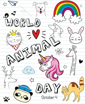 Doodle with cat dog bird bear unicorn rabbit and giraffe world animal day vector illustration