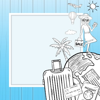 Doodle woman cartoon luggage and accessories travel around the world concept summer background