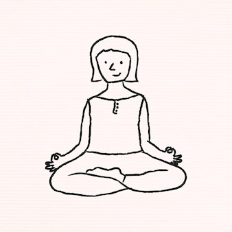 Doodle woman meditating
