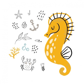 Doodle yellow seahorse for childish  .