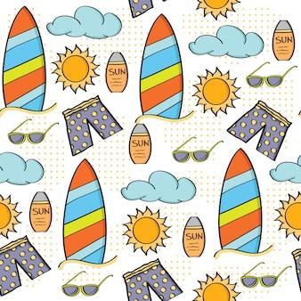Doodle漫画シームレスパターン夏休みコンセプト
