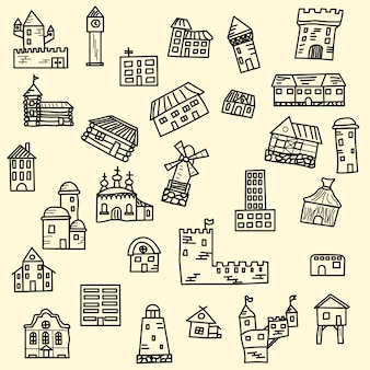Набор векторных doodle домов