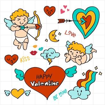 Валентина doodle, стрелка купидона, значок любви