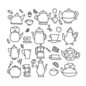 Нарисованная рукой иллюстрация doodle вектора чайника. чайник значок линии каракули символ.