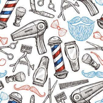 Парикмахерская атрибуты doodle бесшовные шаблон
