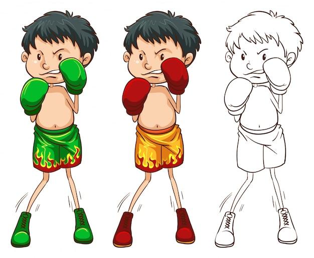 Характер doodle для иллюстрации боксера