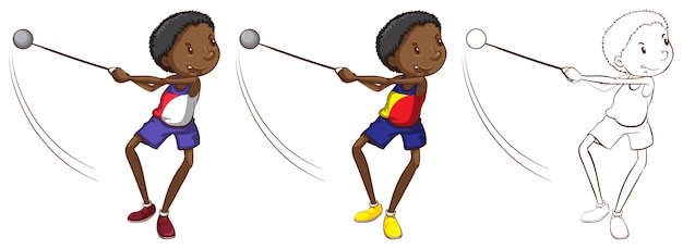 Характер doodle для человека, бросающего вес
