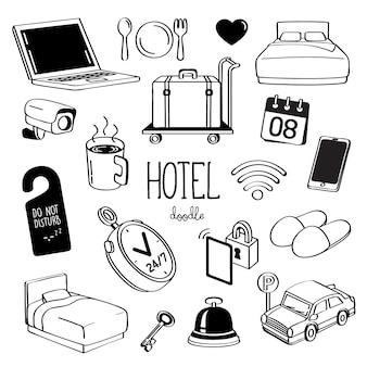 Стили ручного рисования для предметов отеля. doodle гостиничный сервис.