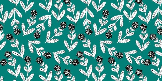 Горизонтальная безшовная картина с милыми цветками doodle на зеленой предпосылке,