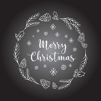 Doodleアイコン付きのクリスマスの背景。