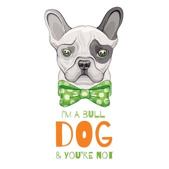 Милый бульдог. эскиз doodle для печати футболки, плаката, дизайн корзины.