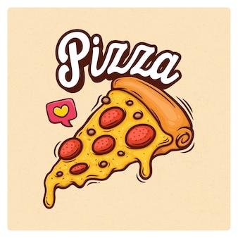 Пицца рисованной doodle иллюстрация