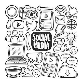Иконки социальных медиа рисованной doodle раскраски