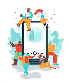 Изолированная иллюстрация музыки людей мобильного телефона и doodle слушая.