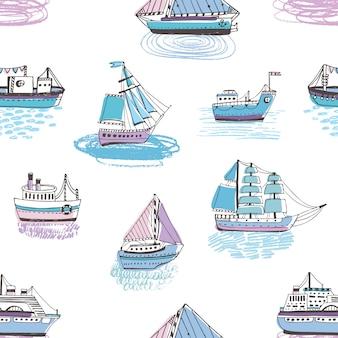 Безшовная картина с кораблями doodle, яхтами, шлюпками, парусным судном, парусником, морским судном. красочные рисованной иллюстрации.