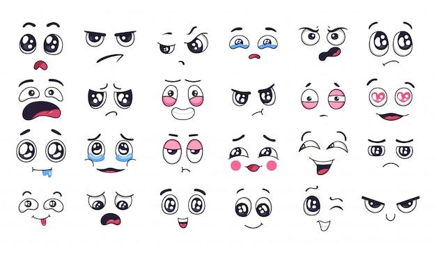 Смешные мультипликационные лица. выражения лица, радостное и грустное настроение. смеясь до слез лицо, улыбающийся рот и плачущие глаза. doodle набор различных настроений иллюстрации. положительные и отрицательные эмоции